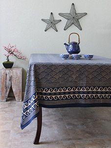 Pacific Blue ~ Rustic Navy Blue Ocean Oriental Asian Tablecloth
