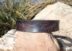 OOAK handmade leather choker/black and tan/hand by longshotleather