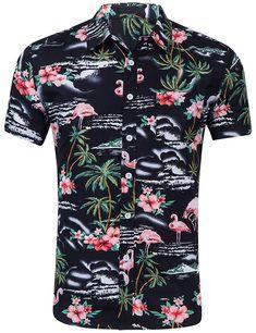 Euro/US Size New Summer Hawaiian Shirt Men Casual Fashion Cotton Short Sleeve Mens Shirts Floral Fit camisa masculina Size Beach Shirts, Summer Shirts, Summer Blouses, Short Shirts, Long Sleeve Shirts, Men Shirts, Girl Shirts, Shirt Men, Casual Button Down Shirts