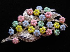 Vintage Pastel Floral and Rhinestone Pin Brooch found on www.rubylane.com