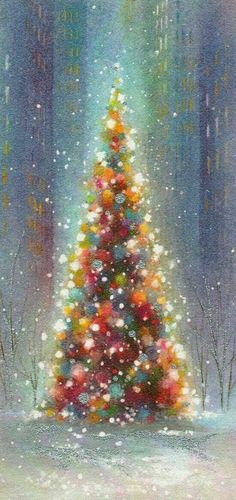 I like this Christmas tree illustration. It has a different sparkling quality to. I like this Christmas tree illustration. It has a different sparkling quality to it. Noel Christmas, Vintage Christmas Cards, Vintage Holiday, Vintage Cards, Winter Christmas, Christmas Crafts, Xmas, Christmas Scenes, Simple Christmas