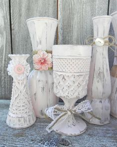 shabby chic burlap crafts | Burlap and Lace Pink Shabby Chic Vase Collection, Wedding Vase Decor ...