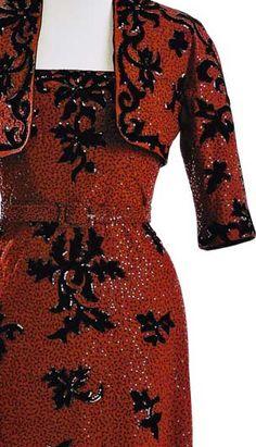 Balenciaga - Ensemble du Soir Boléro et Robe - 1943 Women's vintage designer fashion history historical clothing