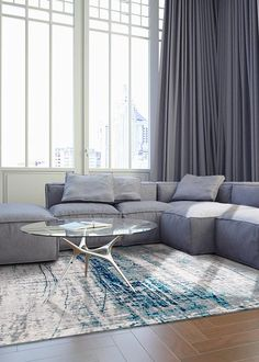 Mad Men Bronx Azurite rugs by Louis De Poortere, design 8421 A unique and hard-hitting collection of colourful flat-woven tapestry rugs, made by Louis De Poortere. Mad Men rugs are woven to meet the modern requirements of contemporary interior fashions a Mad Men, Living Room Trends, Rugs In Living Room, Madison Avenue, Silver Grey Rug, Blue Grey, Casamance, Oeko Tex 100, Chenille