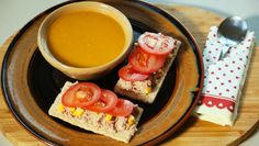 Sweet Potato Soup and Tuna Crisp Bread . The tuna crisp bread and soup are a perfect pairing that make an ideal light lunch. Lunch Places, Real Food Recipes, Cooking Recipes, Crisp Bread, Natural Yogurt, Sweet Potato Soup, Breakfast Options, Dried Tomatoes, Tuna