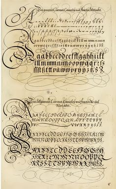 The Proper Art of Writing: a compilation of all sorts of capital or initial letters of German, Latin and Italian fonts from different masters of the noble art of writing. How To Write Calligraphy, Calligraphy Handwriting, Penmanship, Calligraphy Letters, Typography Letters, Caligraphy, Beautiful Calligraphy, Lettering Styles, Script Lettering