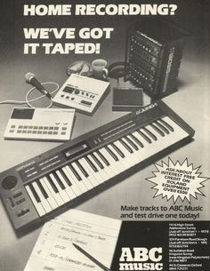 Roland Juno 1, TR 505, SBX-10 (sync box) And Boss Effects, Advertisement By ABC Music Dated 1987.