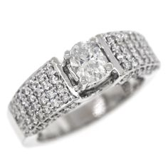 1.60 Cttw Certified Round Oval Diamonds Anniversary Cocktail Ring 14K White Gold #Certified #Band #Diamonds #Anniversary #Cocktail #Ring #14K #White #Gold #Christmas #Gift