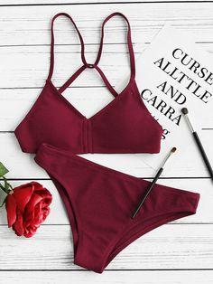 Burgundy Textured Push Up Strappy Back Bikini Set