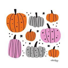 pumpkins - fun stamp or paper craft inspiration Halloween Poster, Halloween Prints, Halloween Skull, Cute Halloween, Halloween Illustration, Autumn Illustration, Cute Pumpkin, Arte Floral, Illustrations