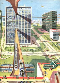 "'City of the Future' 1954 by Kempster and Evans The illustration appeared in James Fisher's book ""The Wonderful World,"" and envisioned cities linked together with an extensive network of public transport. Future City, Illustrations Vintage, World Of Tomorrow, Futuristic City, Architecture Drawings, Futurism Architecture, Architecture Collage, City Architecture, Science Fiction Art"