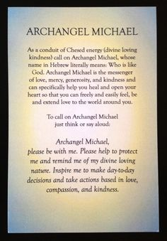 Intention for calling upon Archangel Michael