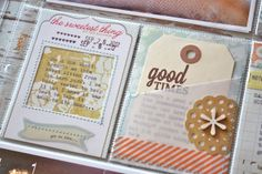 Pocket created by stitching stiff vellum to patterned paper
