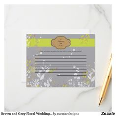 Shop Brown and Grey Floral Wedding Writable Advice Card created by suestardesigns. Wedding Advice Cards, Happy Marriage, Brown And Grey, Special Day, Smudging, Floral Wedding, Paper Texture, Bridal Shower, Prints