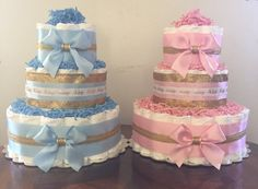 Diaper cake - This is a 3 tier diaper cake - Cake is about 15 high and comes on a 12 cake plate - You may customize your cake with different color choices, please leave a note a checkout with your colors - Cake will be wrapped in cello and have a matching bow - Please leave your
