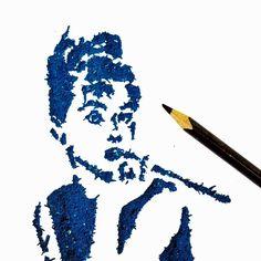 Audrey Hepburn Pencil Shaving Art by Meghan Maconochie on Instagram