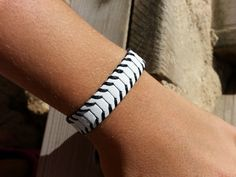 Adjustable bracelet / unisex white leather bracelet by VavienStore, $18.00