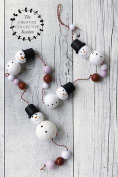Basteln mit Kindern: Deko für Weihnachten und Winter mit Schneemann aus Watterkugeln