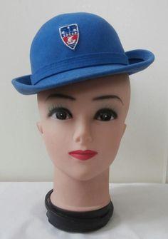 Vintage 1960 s (Approx) Airforce Blue Felted Wool Girls Bowler School Hat  Sz 51 065b24b26410