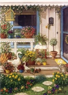 Global Gallery 'Spring Front Porch' by Janet Kruskamp Painting Print on Wrapped Canvas Size: Painting Prints, Canvas Prints, Art Prints, Paintings, Decoupage, Ribbon Art, Artist Trading Cards, Ribbon Embroidery, Bullion Embroidery