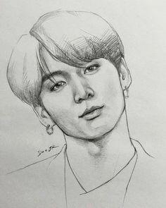 Portrait Sketches, Art Drawings Sketches Simple, Pencil Art Drawings, Realistic Drawings, Look Wallpaper, Flower Art Drawing, Kpop Drawings, Jungkook Fanart, Arte Sketchbook