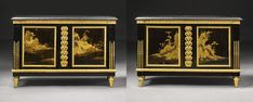 A pair of Louis XVI gilt-bronze mounted Japanese lacquer and ebony commodes à vantaux, attributed to Etienne Levasseur, late 18th century, the lacquer 17th century Like and Repin. Thx Noelito Flow. http://www.instagram.com/noelitoflow