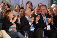 Junto a la vicepresidenta Soraya Sáenz de Santamaría y el ministro Cristobal Montoro durante la ponencia de los presidentes de las Diputaciones de Valencia y Castellón, Alfonso Rus y Javier Moliner