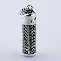 sterling silver pendant ornate prayer box spiritual screw-off lid 54mm long PSA
