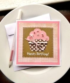 CUPCAKE Birthday Card Handmade Greeting by InspiredGreetingsAD, $6.00