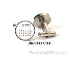 Personalized Calendar Cuff links Groom Gift from by yayadiyclub