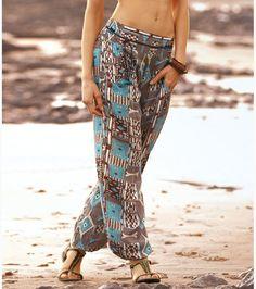 Pantalón largo bombacho mujer estampado viscosa Moda Mujer 16 Venca