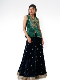 Lingerie Accessories, Indian Couture, Velvet Tops, Salwar Suits, Western Wear, Indian Wear, Types Of Sleeves, Peplum, Navy Blue