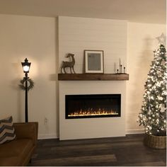 Fireplace Feature Wall, Wall Mounted Fireplace, Basement Fireplace, Fireplace Redo, Shiplap Fireplace, Small Fireplace, Bedroom Fireplace, Fireplace Remodel, Living Room With Fireplace