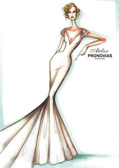 Boceto de la nueva colección de Atelier Pronovias 2016 #fashion #sketches #brides #novias #vestidosdenovia #bocetos #moda