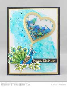 Handmade card from Barbara Anders featuring Heart Balloon Shaker Window & Frame Die-namics #mftstamps