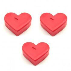 Kalp Şeklinde 3'lü Kırmızı Mum