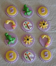 Rapunzel Inspired Fondant Cupcake or Cookie Toppers- Edible- 1 DOZEN