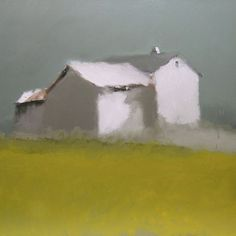 """Summer Hill"""" Landscape Artwork, Landscape Quilts, Abstract Landscape, Yellow Painting, Oil Painting Abstract, Watercolor Barns, Building Art, Texture Art, Painting Inspiration"""