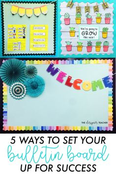 Use these tips to set up your classroom bulletin board for success at the beginning of the year! Use these tips to set up your classroom bulletin board for success at the beginning of the year! Parent Bulletin Boards, Kindergarten Bulletin Boards, Bulletin Board Design, Back To School Bulletin Boards, Classroom Bulletin Boards, New Classroom, Kindergarten Classroom, Classroom Themes, Classroom Organization