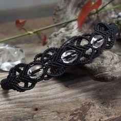 Macrame Bracelet Shamballa Oval Shaped Clear Quartz Cord Handmade Handwoven #Handmade #Wrap