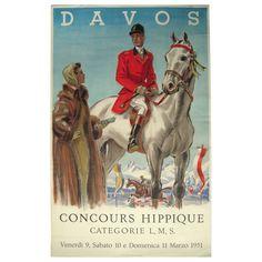 Stylish Vintage Swiss Equestrian Poster Davos 1951