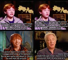 Adorable Alan Rickman and Rupert Grint moment.