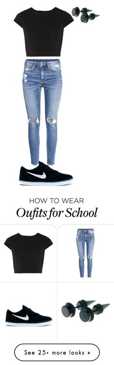 """""""Usual outfit for school"""" by cruzesmeralda on Polyvore featuring Alice + Olivia, H&M and NIKE"""