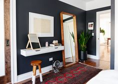 Floating vanity IKEA hack, black bedroom walls and tall wall mirror. Finally, a … Floating vanity IKEA hack, black bedroom walls and tall wall mirror. Finally, a bedroom that we LOVE! Tall Wall Mirrors, Ikea Mirror, Diy Mirror, Ikea Hack Vanity, Mirror Vanity, Storage Mirror, Bedroom Storage, Sweet Home, My New Room
