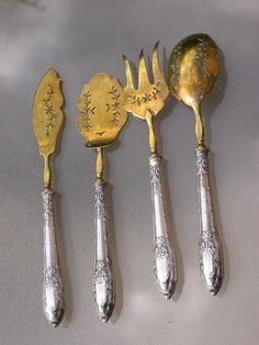 French antique large Art nouveau sterling silver spoon knife service set engraved dessert pie icecream service Server carving  flower bronze on Etsy, $229.00