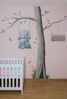 Cute jungle animals, tatty teddy, owls and birds are all whimsical designs that are popular at the moment for decorating a nursery. Baby Bedroom, Baby Room Decor, Nursery Room, Girl Nursery, Girl Room, Kids Bedroom, Baby Wall Art, Mural Wall Art, Art Wall Kids