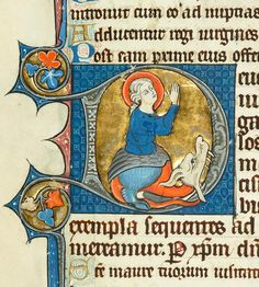 Margaret of Antioch emerging from Dragon in initial D | Psalter-Hours | France, Amiens | between 1280 and 1299 | The Morgan Library & Museum