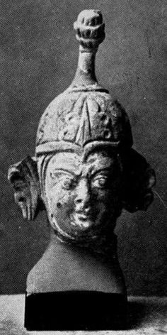 Tumshuk. Sassanid Spangenhelm with wings. 6th-7th Century. (?). (Compare the wingless modern Tibetan helmet