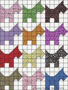 Calico Scotty Dog Scotties Puppy Grab Bag Fabric Easy Pre-Cut Quilt Blocks Kit