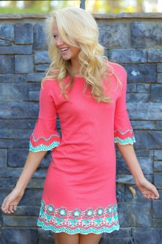 MISSY ROBERTSON:She's Gone Country Dress-Coral